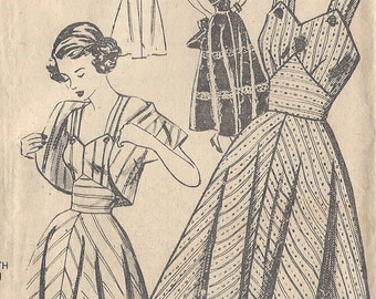 "1950s Vintage Sewing Pattern B34"" DRESS & BOLERO (R83) New Style 2825"