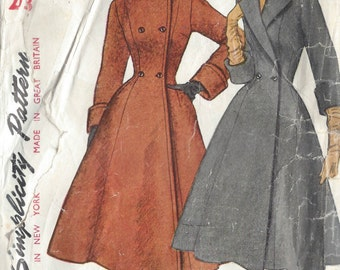 "1952 Vintage Sewing Pattern COAT B33"" (R313) Simplicity 4090"