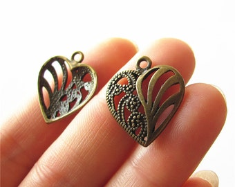 Heart Charm Pendant Antique Brass Drop Handmade Jewelry Finding 20x22mm 4 pcs