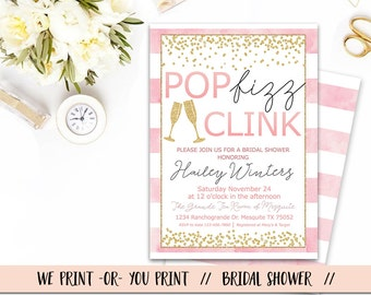 Pop Fizz Clink Bridal Shower Invitation, Bridal Shower Brunch Invitation, Pop Fizz Clink Invitation, Bridal Shower Invitation, Pink Gold
