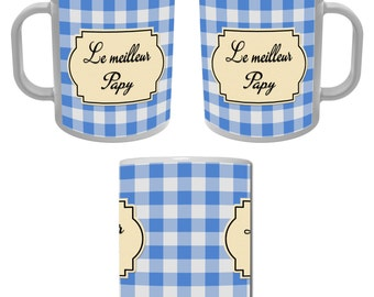 Mug Cup the best Grandpa - blue gingham - for a great grandfather