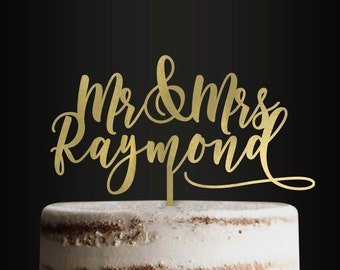 Personalized Wedding Cake Topper, Bride and Groom, Mr and Mrs, Husband and Wife, Custom Cake Topper, Customizable Cake Topper