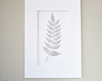 Lino Print. Hand Printed. Original Linocut. Botanical Leaves.