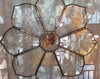 Beveled Stained Glass Flower Decor with Hanger