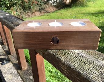 Walnut and acrylic tea light holder
