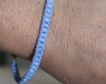 Baby Blue superduo beaded bracelet