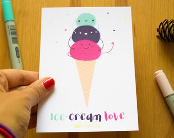 "Postcard - ""Ice cream love"""
