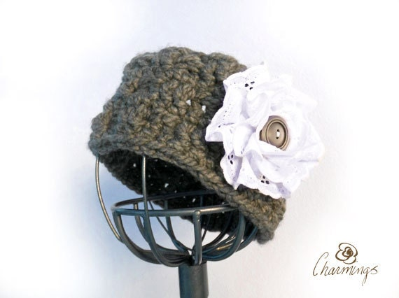 HEADBAND - Elegant Charcoal Crochet Headband, Eyelet Flower Brooch, Floral Pin, Ear Cozy, Ear Gator, Winter Fashion Apparel