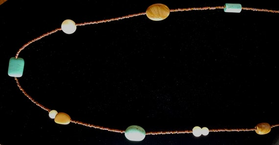 Turquoise Tan Jasper Long Necklace / Pictured Jasper and Turquoise and Pearl Necklace / Hippie Necklace / Boho Jewelry /NS61013