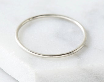 Simple silver stacking ring
