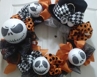 Halloween Wreath, Jack Skellington Wreath, Skeleton Wreath, Black and Orange Wreath,