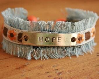 Upcycled Denim Cuff Bracelet - HOPE - Orange