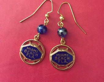 Miami Beach charms made into cute earrings.