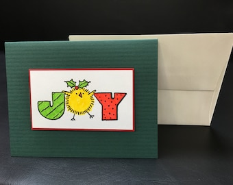 Cute Chick w/ Mistletoe Joy Holiday Christmas Greeting Card - Handmade Stamped