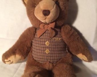 "Vintage Teddy Bear 18"" tall with vest"