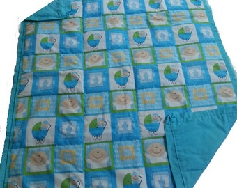 Handcrafted baby quilt, 100% pure cotton - baby boy - baby face print with carriages and baby feet - blue - baby blanket - baby shower