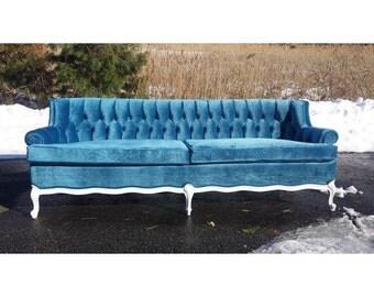 vintage french provincial couch blue velvet stunning white and blue antique tufted velvet sofa