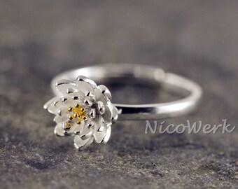 Silver ring flower ring Silver 925 adjustable ladies jewelry ladies rings 121