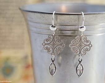 Medieval | Sterling silver + Swarovski crystal | Medieval inspired dangle earrings, floral filigree with clear cristal