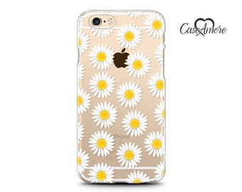 iPhone 6 Plus case, iPhone 7 Plus case, iPhone 7 case, iPhone 6 case, Clear case, Rubber case, Galaxy cases, Galaxy S7 case, daisy, flowers
