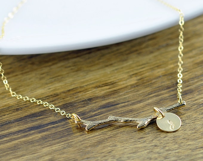 Gold Branch Necklace - Tree Layering Necklace - Gold Tree Branch Charm - Twig Necklace - Nature Jewelry - Initial Necklace