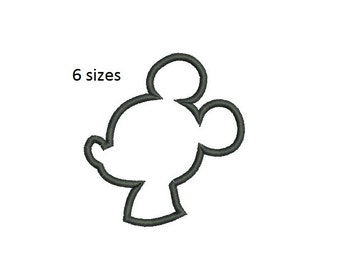 6 sizes - Mickey Mouse Applique Embroidery, Instant Download, Mickey Mouse Silhouette, Machine Embroidery, Kids Embroidery, Cute Embroidery