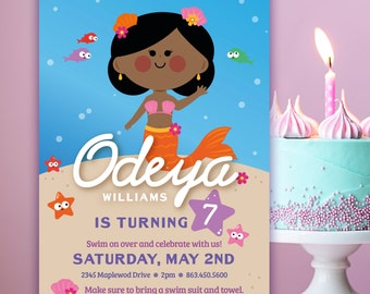 Cute Mermaid Birthday Invite