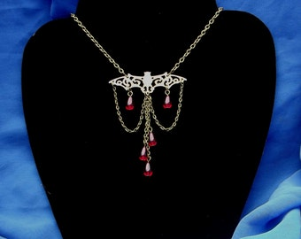 Gothic Vampire Bat Blood Drop Necklace. Goth, Pagan, Magic