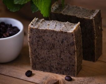 Peppermint & Coffee Exfoliating Soap - Gardener's Soap - Certified 100% Natural Pure Vegan Handmade Soap (Cold Process)