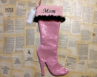 PINK Christmas stocking high heel Christmas stockings personalized monogrammed custom Christmas stocking pink Christmas decor, gift for her