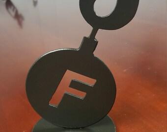 F Bomb round paperweight / Desktop art
