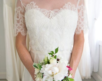 Italian Lace Bridal Topper with Sleeves