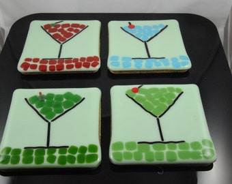 set of 4 - 4 inch glass coasters