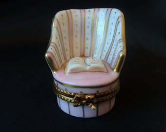 Limoges Trinket Box Victorian Chair