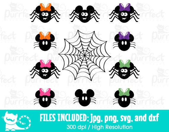 Mickey And Minnie Mouse Spiders Svg Disney Halloween