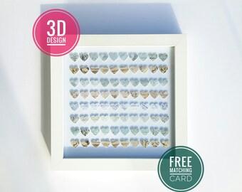 Eternal Love. hearts paper decoupage art, luxury heart display box frame wall art home decor paper gift handmade 3d effect hearts gift