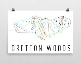 Bretton Woods Ski Map Art, Bretton Woods NH, Bretton Woods Trail Map, Ski Resort, Ski Decor, Ski Art, Ski Sign, Ski Poster, Ski Gifts, Cabin