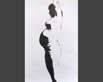 Original Painting - Pregnant woman silhouette - black and white - 28cm x 42cm