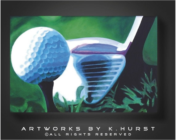 Modern Original Golf ball on Tee & Golf Club-Great gift for a man's office