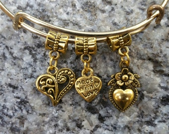 Made with Love Charm Bracelet, Charm Bangle, Charm bracelet
