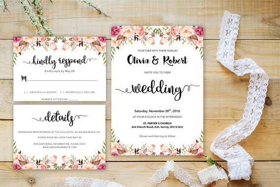 Floral wedding word_2,,INSTANT DOWNLOAD, Editable Wedding template invitation. Microsoft Word template.Wedding Printable