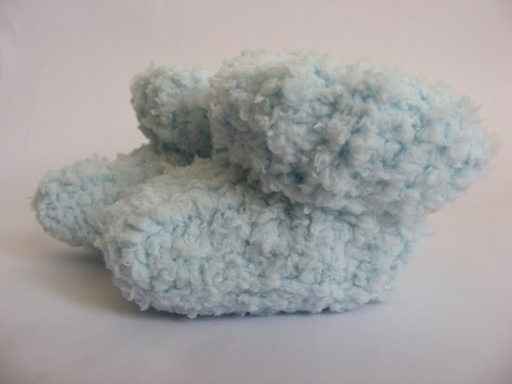 Handmade Knitted Baby Booties, Baby Blue