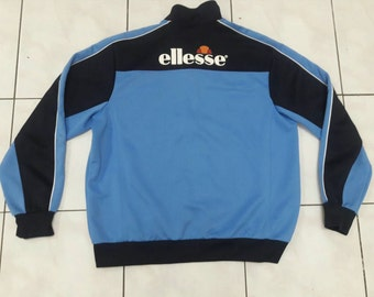 Sale!! Vintage Ellesse Black Blue Italia/ jacket sweatshirt sweater sport wear street