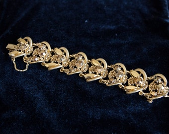 Bumble Bee Vintage Bracelet Signed by Hollycraft Gold Beautiful