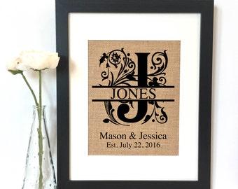Monogram Burlap Print // Personalized Wedding Gift // Custom // Wedding // Anniversary Gift // Rustic Home Decor