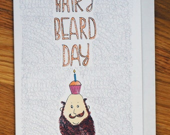 beard face, cupcake, hairy happy birthday card