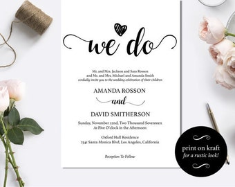 Black and White We Do Wedding Invitation Template - Instant download wedding invitation - Editable wedding invitations #WDHOO32