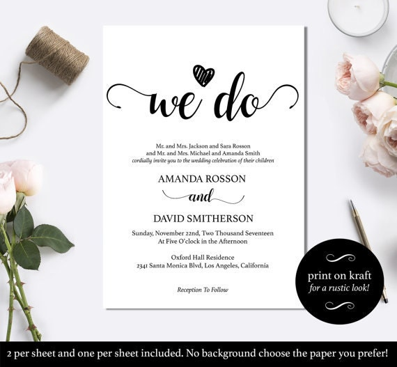 Black and White We Do Wedding Invitation Template Instant