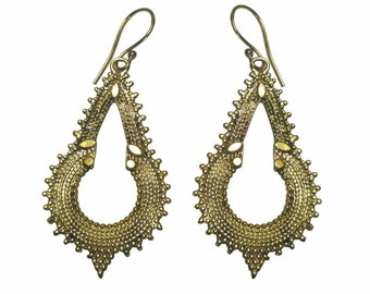 Brass boho India style drop earrings.
