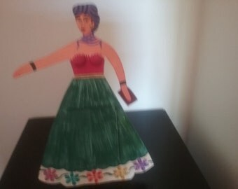 Mexican tin Frida Kahlo with mirror